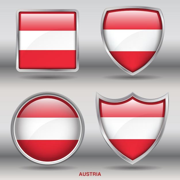 オーストリアフラグベベル図形アイコン Premiumベクター