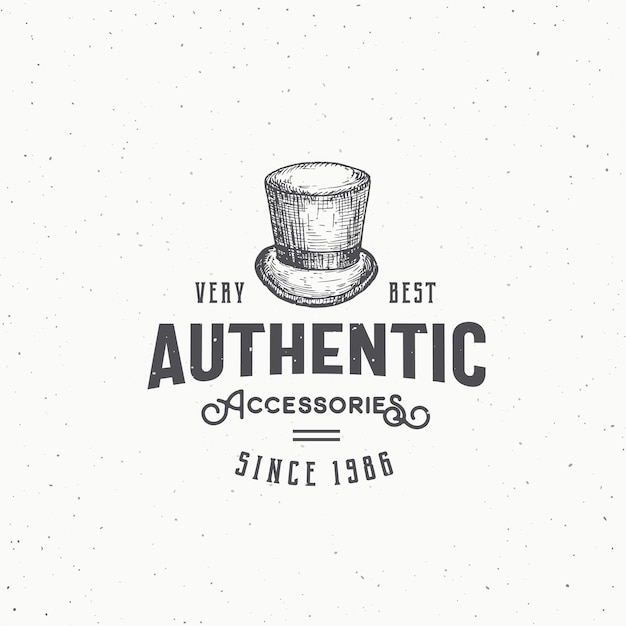 Authentic cylinder hat abstract  sign, symbol or logo template. Premium Vector