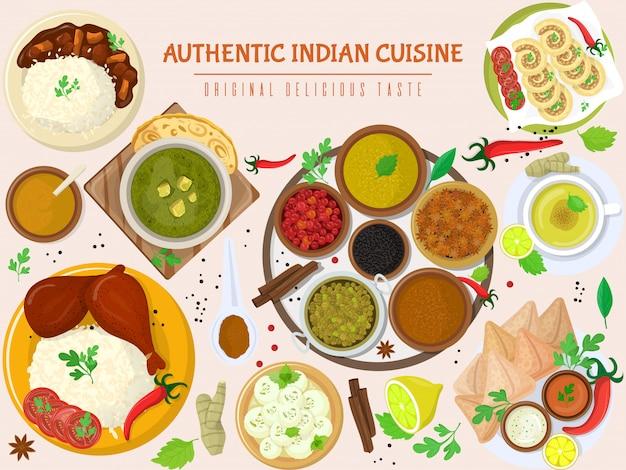 Authentic indian food, original delicious taste banner,   illustration. spicy asian foodstuff, piquant flavor meal product. Premium Vector