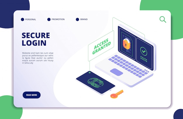 Authentication and authorization. duo internet identity, safety multi password. authentic isometric 3d concept Premium Vector
