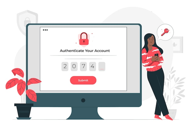 Authentication concept illustration Free Vector