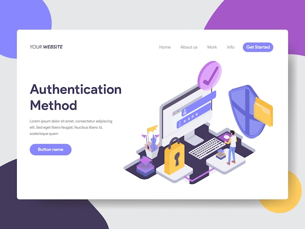 Authentication method isometric illustration for web pages Premium Vector