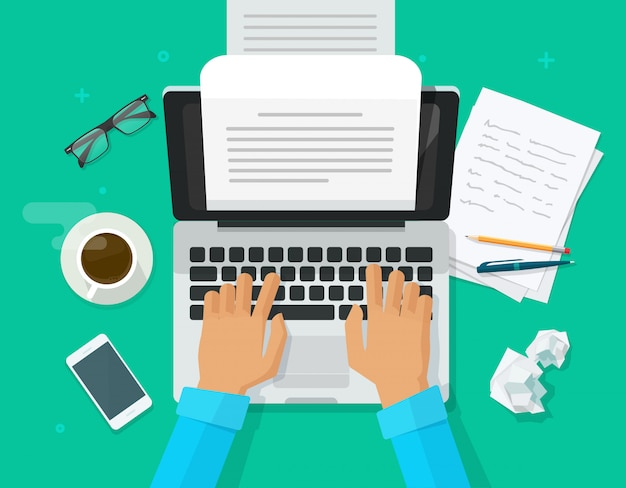 Author person writing content on computer paper sheet document Premium Vector