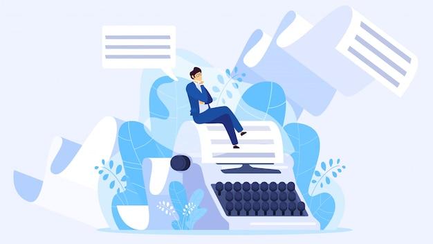 Author writing a book, tiny man sitting on huge typewriter, illustration Premium Vector