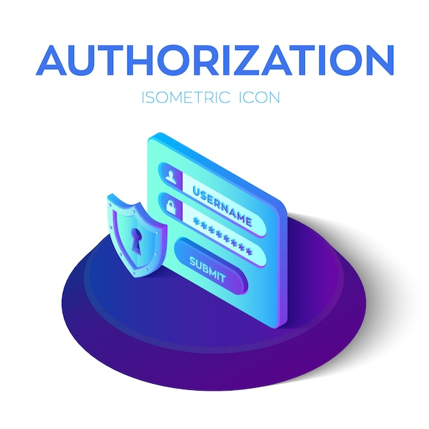 Authorization login with password. security shield icon. 3d isometric icons of access user account. protected login form. Premium Vector