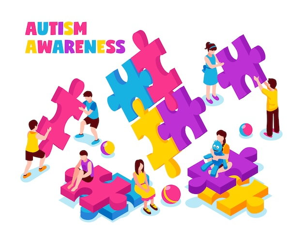Autism awareness composition kids with colorful puzzle pieces and toys on white isometric illustration Free Vector