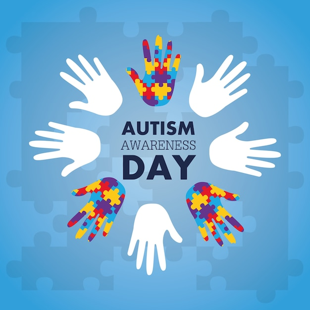 Autism Awareness Concept With Hand Of Puzzle Pieces As Symbol Vector