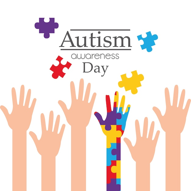 Autism awareness day raised hands support campaign Premium Vector