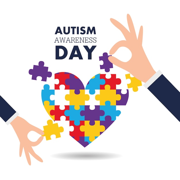 Autism Awareness Day Support Hands Puzzles Pieces Heart Vector