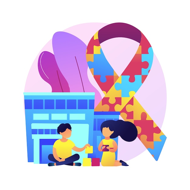 Autism center abstract concept  illustration. learning disability center, treatment of autism spectrum disorder, kids with special needs help, children development issue . Free Vector