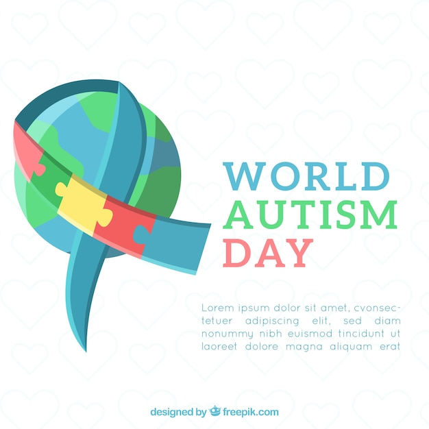 Autism day background in flat style Free Vector