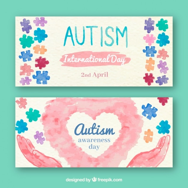 Autism day watercolor banners Free Vector