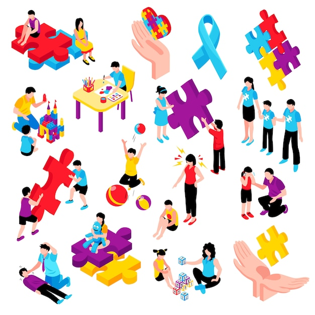 Autism isometric colorful set with behavior difficulties depression communication problems hyperactivity and epilepsy isolated illustration Free Vector