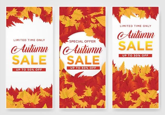 Абстрактный шаблон для продажи с кленовыми листьями Premium векторы