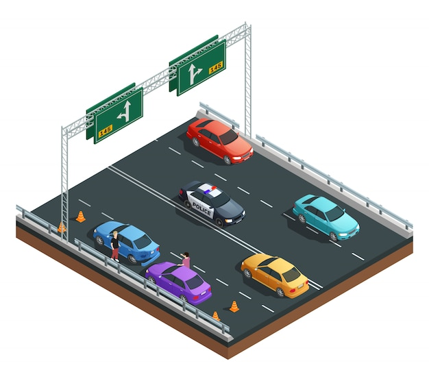 Auto accident involving two cars isometric composition on white background vector illustration Free Vector