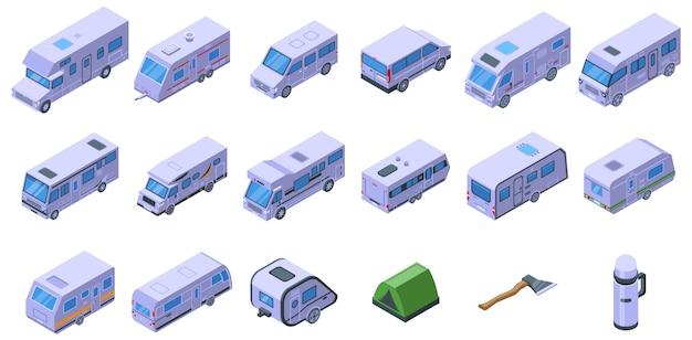 Набор иконок авто кемпинг. изометрические набор иконок авто кемпинга для интернета, изолированные на белом фоне Premium векторы
