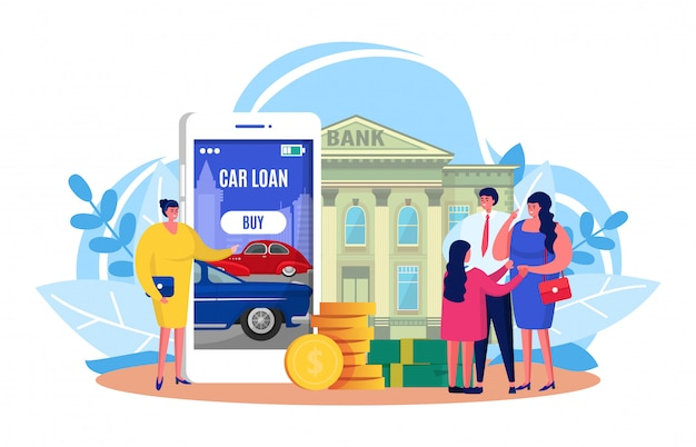 Auto car loan , cartoon tiny family people got bank approved credit for buying new automobile on white Premium Vector