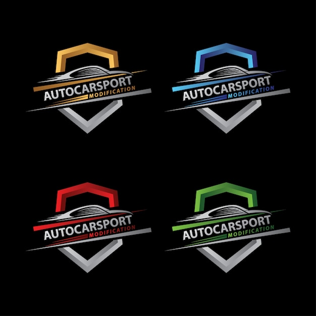 Auto car sport shield logo Premium Vector