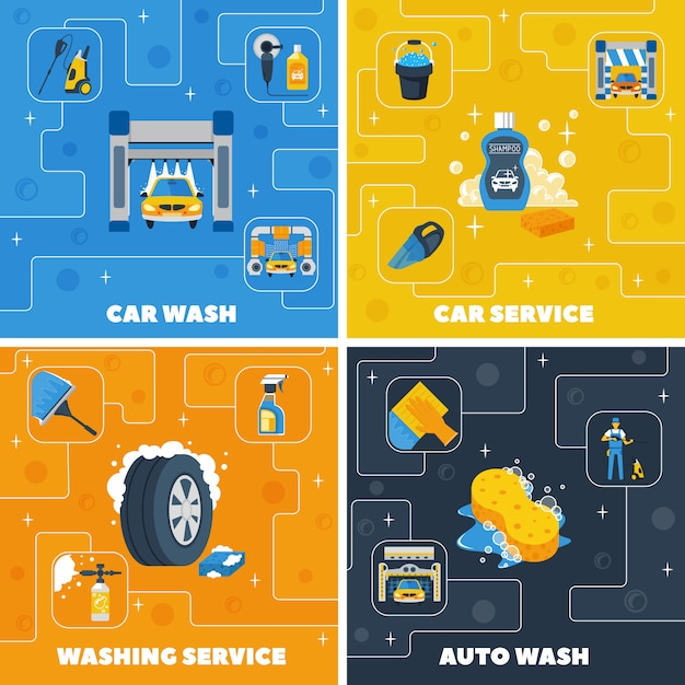 Auto center car wash 4 flat icons square composition Free Vector