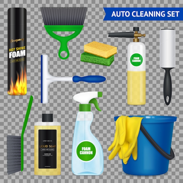 Auto cleaning set with Free Vector