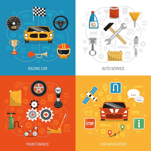 Auto concept 4 flat icons Free Vector