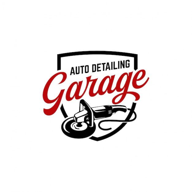 Auto detailing logo polisher car vintage Premium Vector