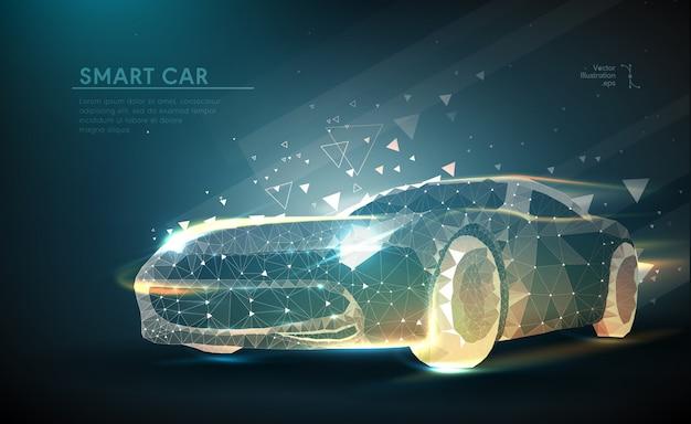 Авто в футуристическом полигональном стиле Premium векторы