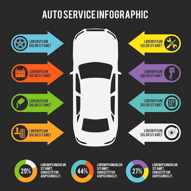 Car Maintenance Checklist >> Auto mechanic car service infographic template with charts and maintenance elements vector ...