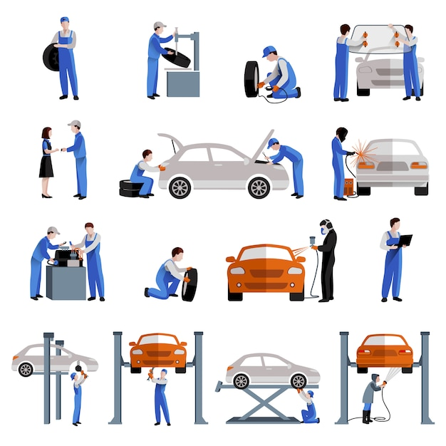 Auto mechanic car service repair and maintenance work icons Free Vector