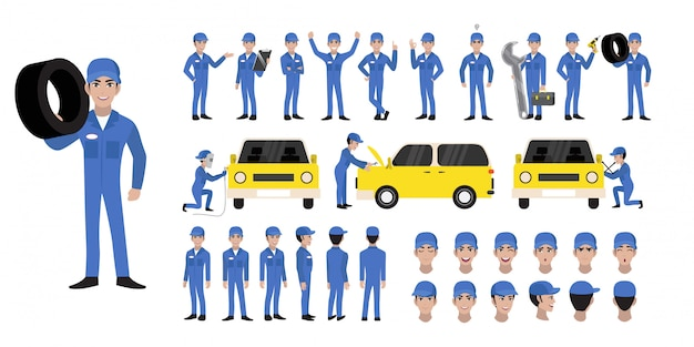 Auto mechanic cartoon character set and animation character Premium Vector