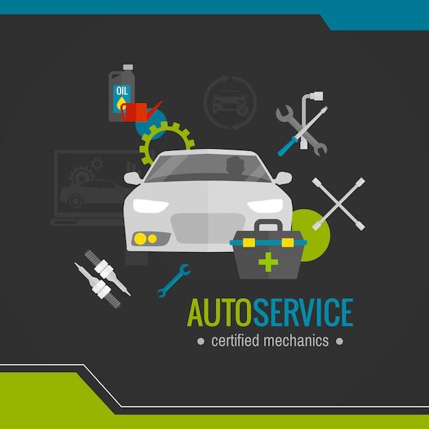 Auto mechanic flat icon Free Vector