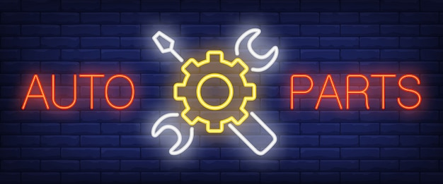 Auto parts sign in neon style Free Vector