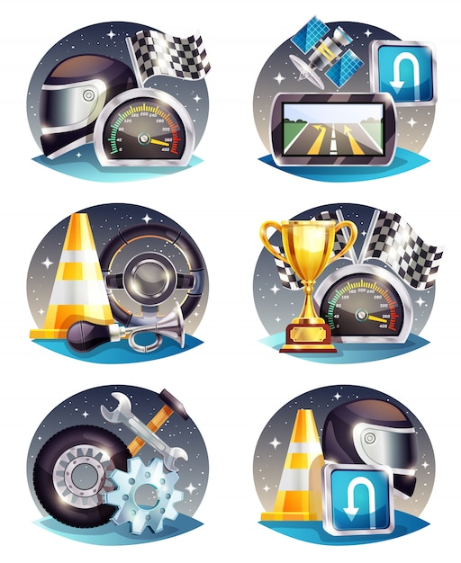 Auto racing compositions set Free Vector