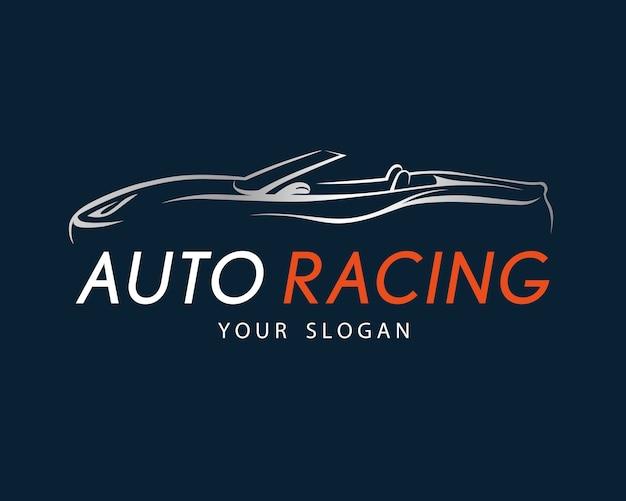Auto racing symbol on dark blue background Premium Vector