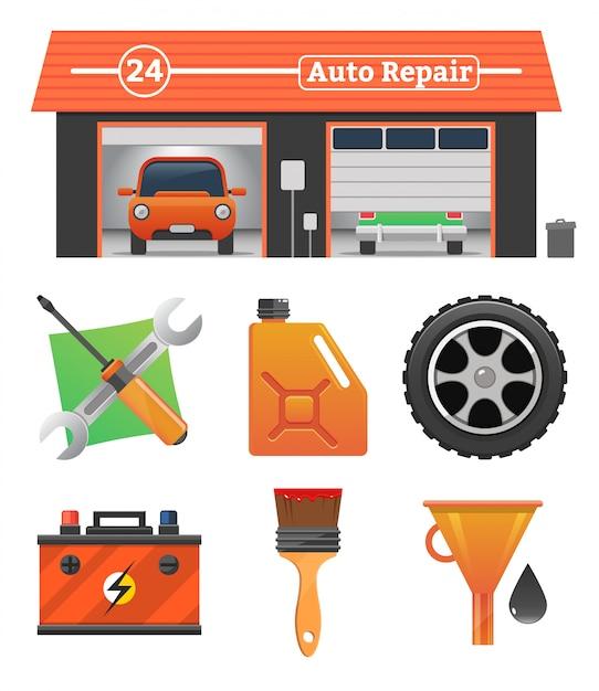 Авто ремонт иконки Premium векторы