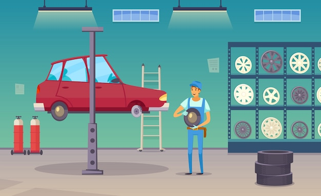 Auto repair shop service worker replaces damaged tyre and changing wheels Free Vector