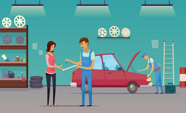 Auto repair shop service workers fixing car and billing customer retro cartoon indoor composition Free Vector