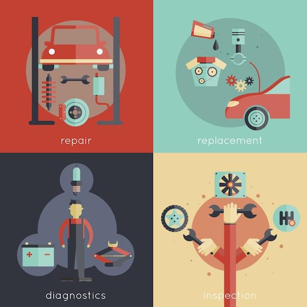 Auto service design concepts set Free Vector