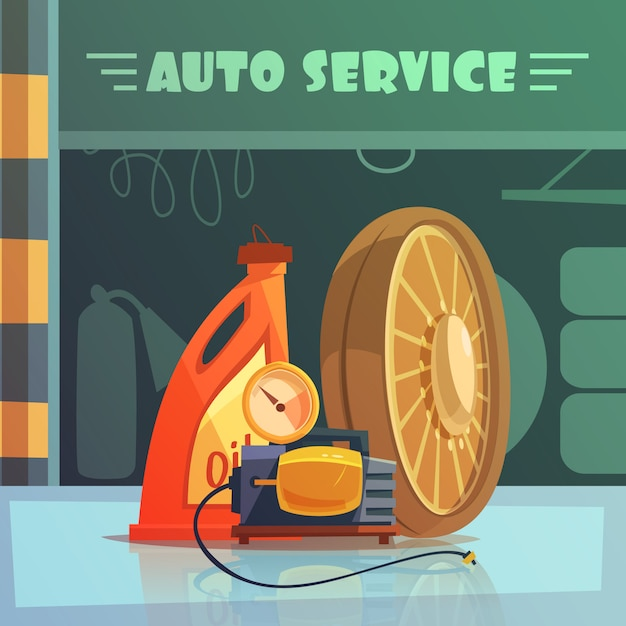 Auto service equipment cartoon background Free Vector