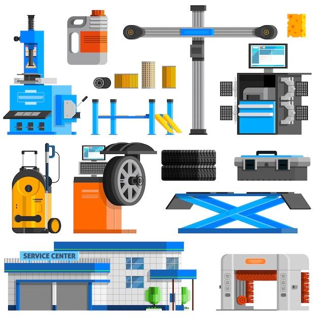 Auto service flat decorative icons set Free Vector