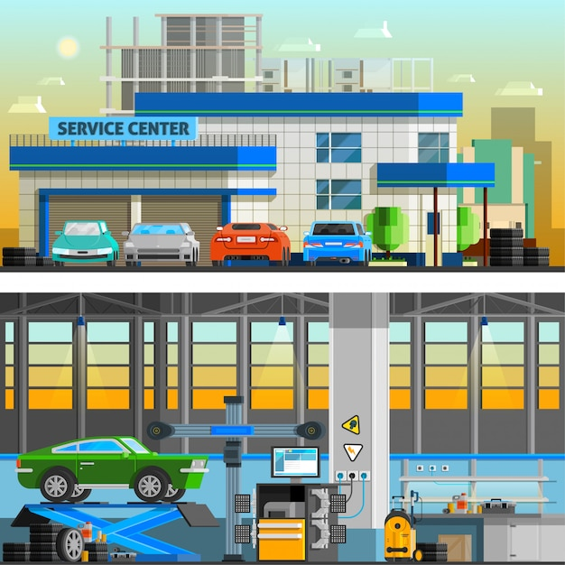 Auto service flat horizontal banners Free Vector