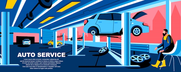 Auto service flat landing page template banner layout. Premium Vector