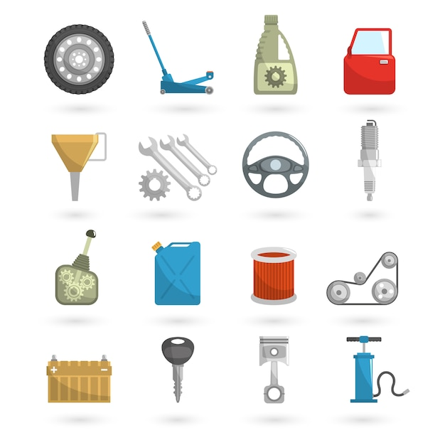 Auto service icons flat Free Vector