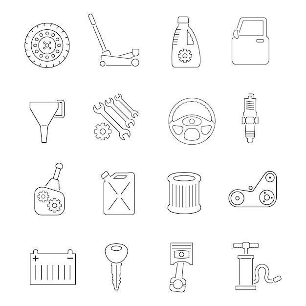 Auto service icons set Premium Vector