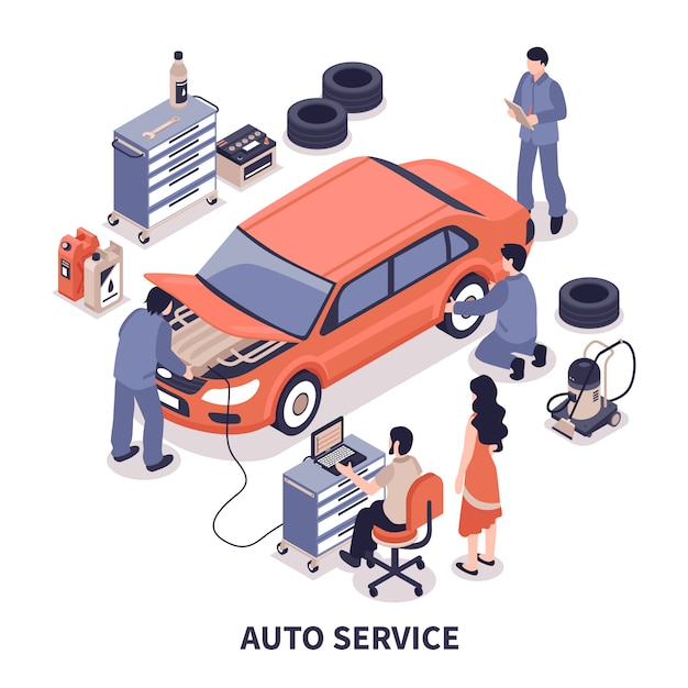 Auto service illustration Free Vector