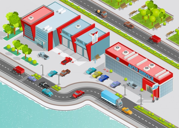 Auto service isometric composition Free Vector