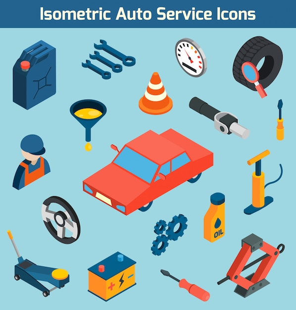 Auto service isometric icons set Free Vector