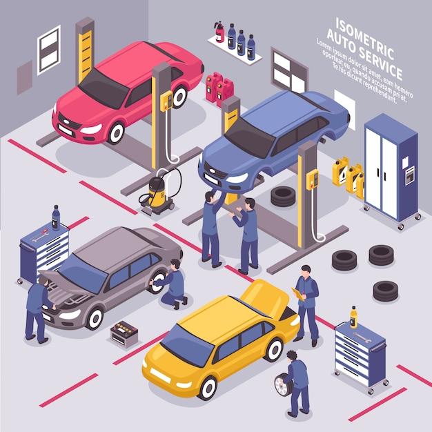 Auto service isometric illustration Free Vector