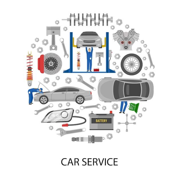 Автосервис, круглый дизайн с автомеханиками, рабочие инструменты, детали машин Бесплатные векторы