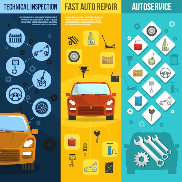 Auto service vertical banner set Free Vector